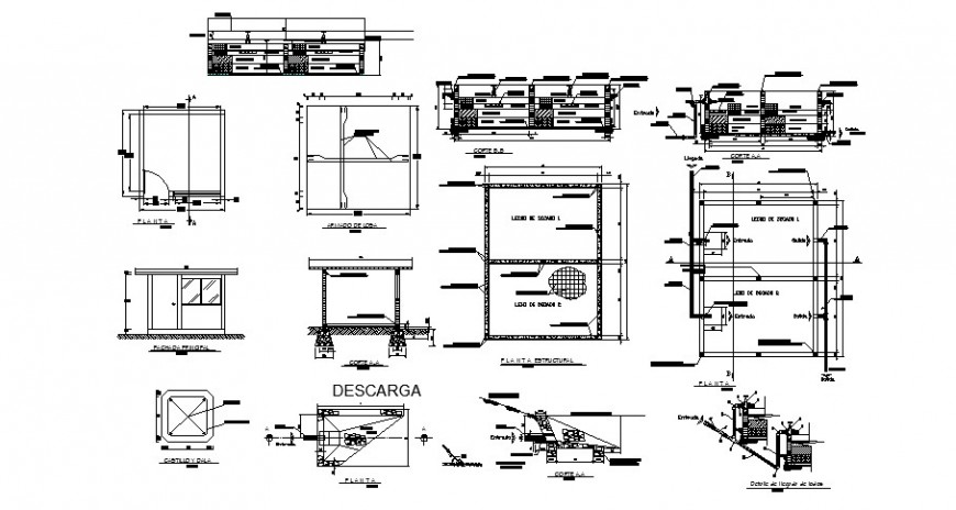 Drainage water line installation plan and sectional view in auto cad