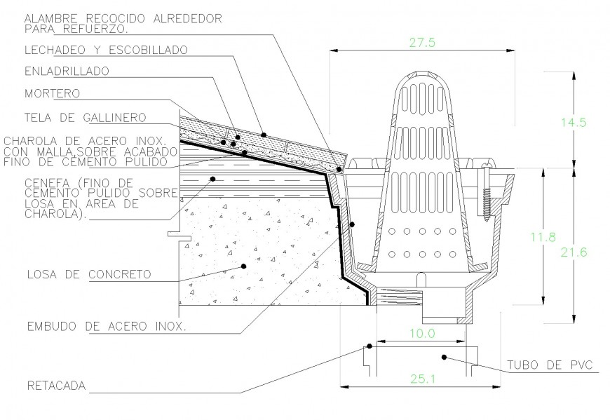 Drains section plan layout file
