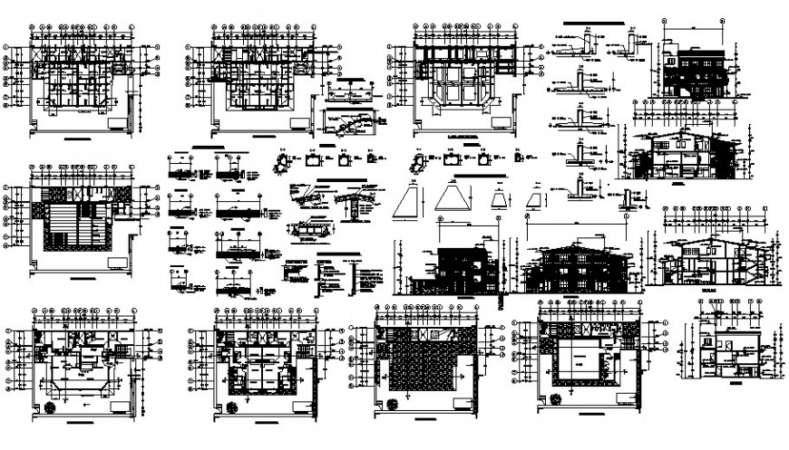 Drawing 2d view details of residential bungalow 2d view autiocad file
