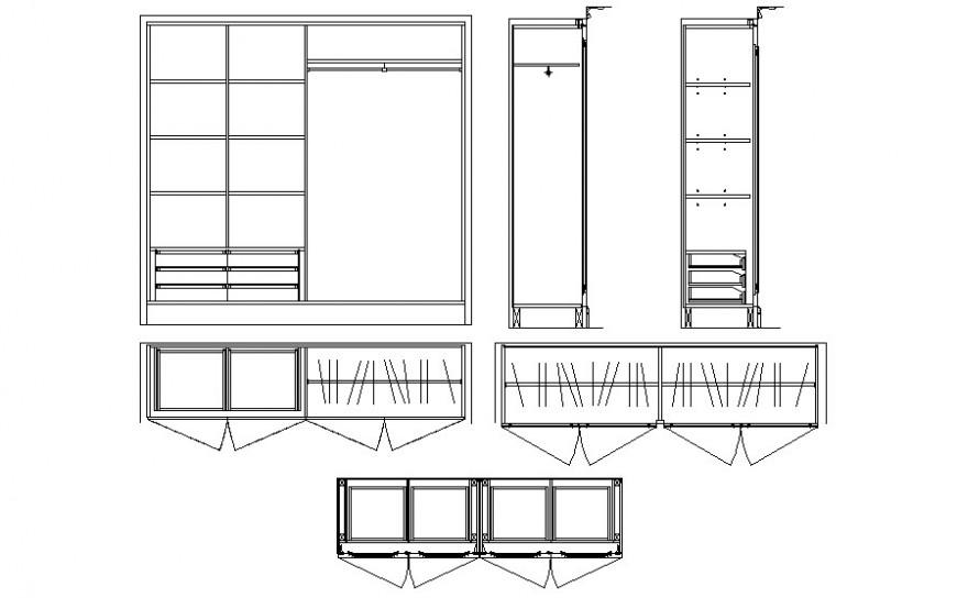 Drawing 2d view of wardrobe furniture blocks dwg file