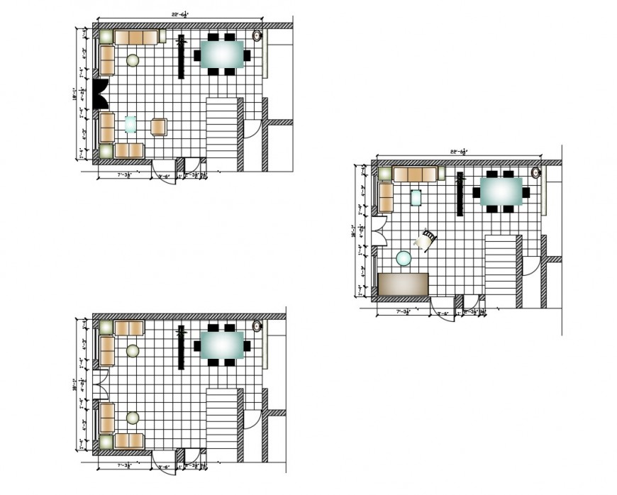 Drawing and dining area detail 2d view layout file in dwg format
