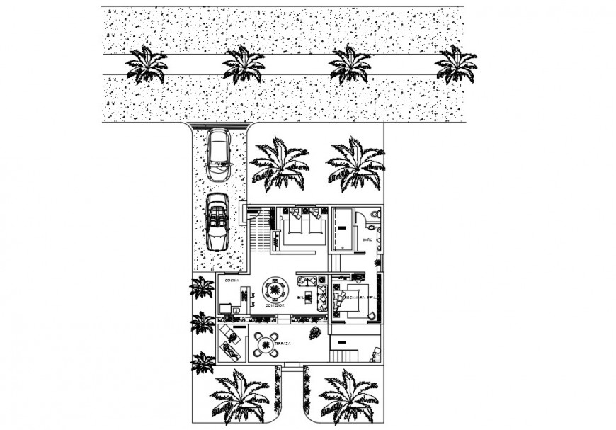 Drawing detailing of Bungalow 2d view layout plan autocad file