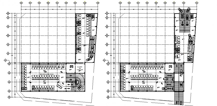 Drawing details of parking system plan 2d view dwg file
