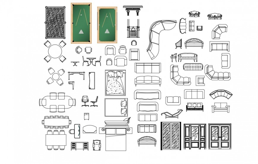 Drawing details of various household furniture blocks dwg file