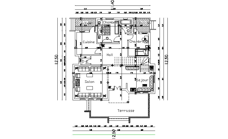 Drawing details of Bungalow house layout plan dwg autocad file
