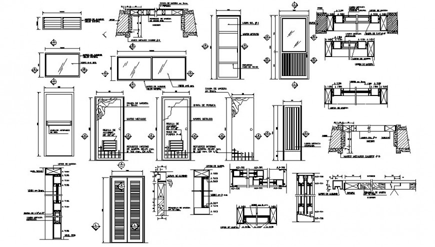 Drawing details of door window units 2d view elevation and section in autocad