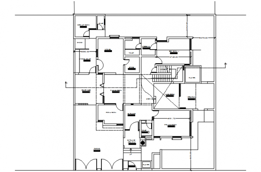 Drawing details of house 2d view layout autocad software file