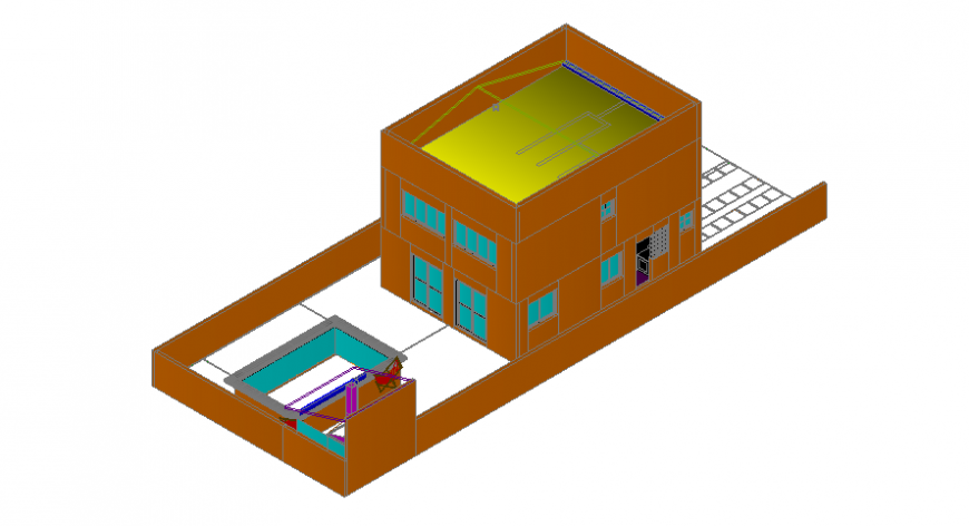 Drawing details of housing bungalow 3d model autocad software file