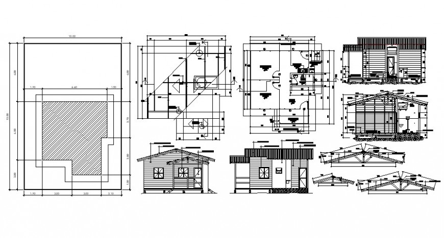 Drawing details of Housing units 2d view elevation plan and section dwg file