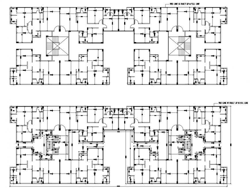 Drawing of 2d apartment block AutoCAD file