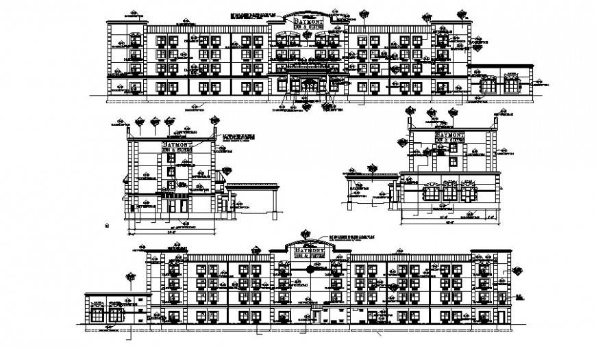 Drawing of 2d hotel project design AutoCAD file