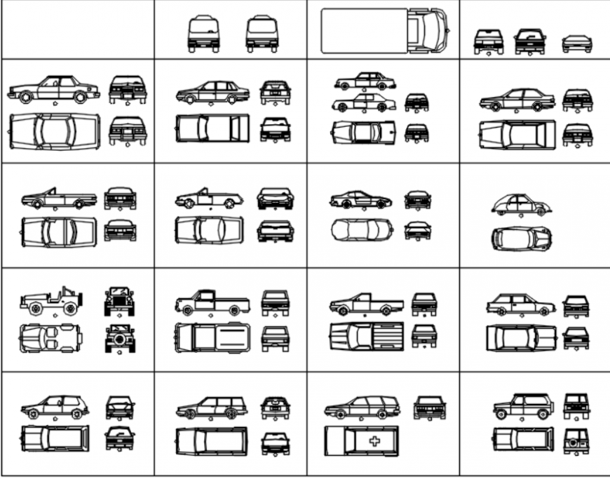Drawing of 2d vehicles block AutoCAD file