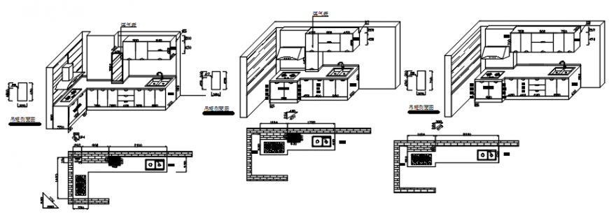Drawing of 3d kitchen layout AutoCAD file