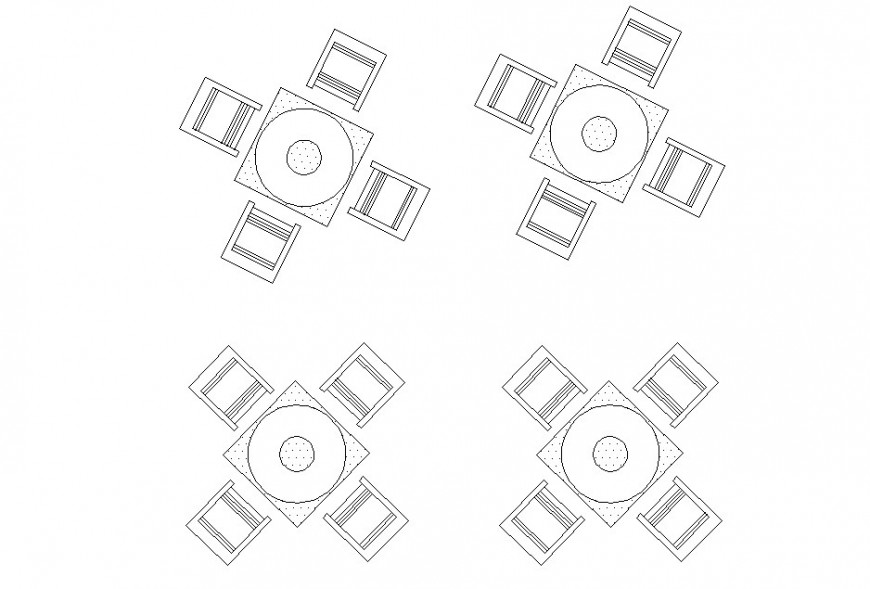 Drawing of 4 seater table furniture