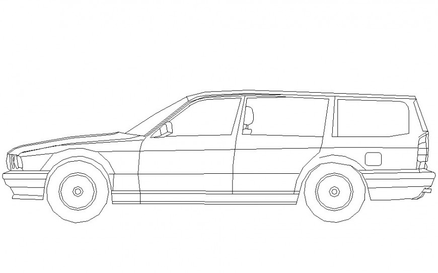 Drawing of 6 seater car block AutoCAD file