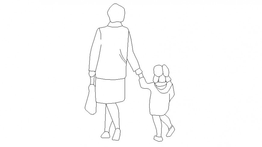 Drawing of a human with child figure cad block AutoCAD file