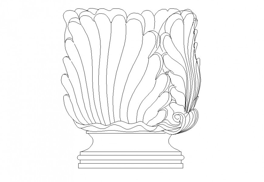 Drawing of antique vase 2d model AutoCAD