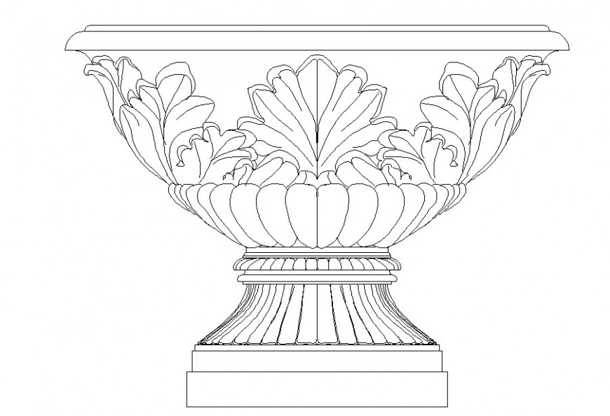 Drawing of antique vase AutoCAD block