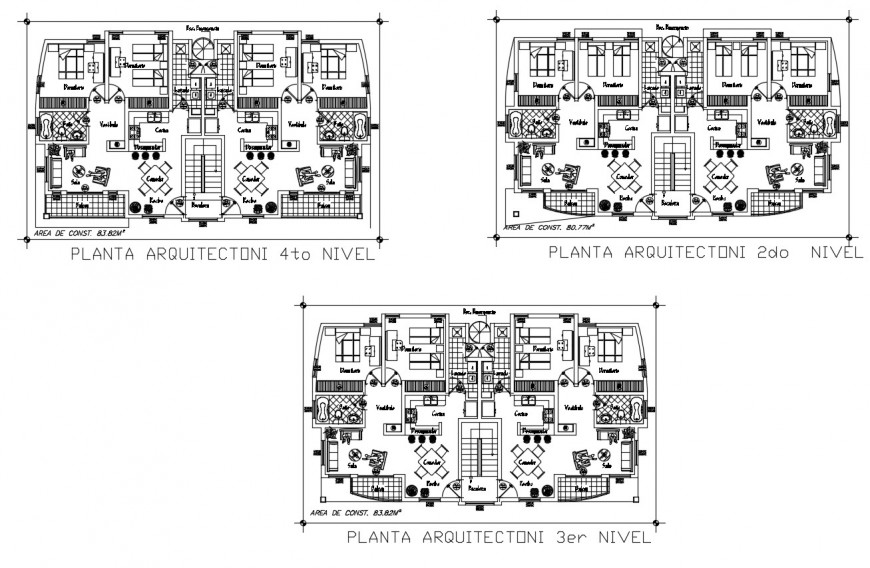 Drawing of apartment 2d design AutoCAD file