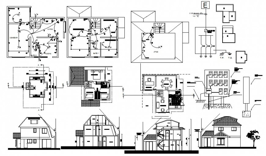 Drawing of apartment building Elevation and section autocad file