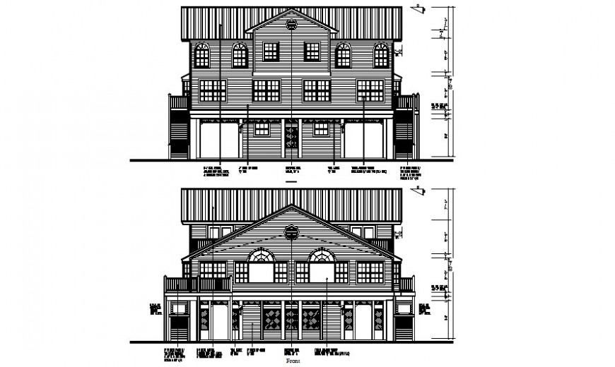 Drawing of apartments elevation 2d view autocad file
