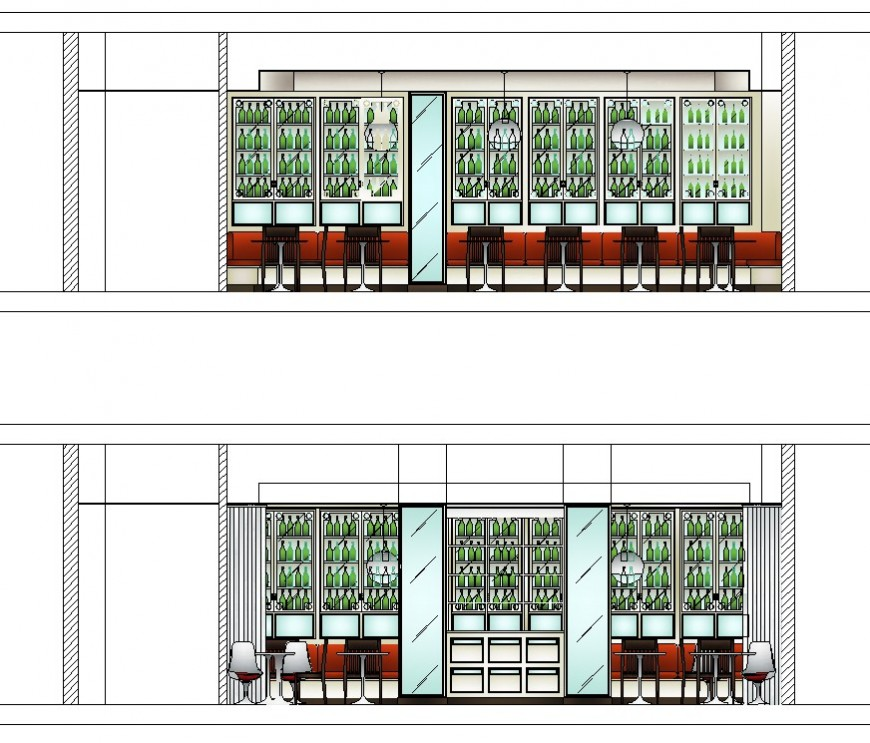Drawing of bar restaurant 2d detail AutoCAD file