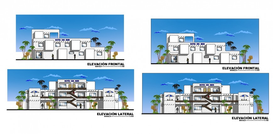 Drawing of beach hotel 2d details AutoCAD file