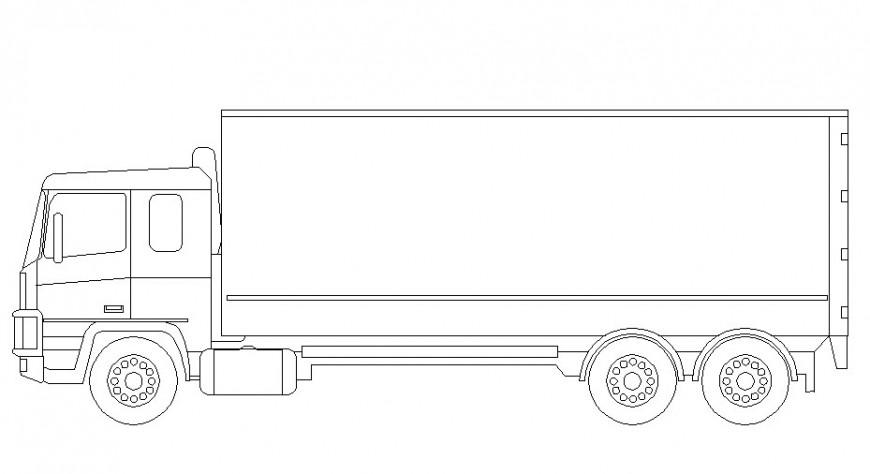 Drawing of box truck block AutoCAD