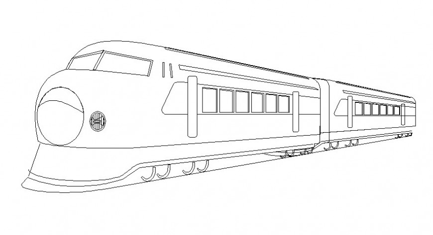 Drawing of bullet train 3d model in autocad software