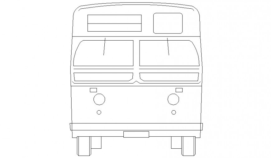 Drawing of bus elevation 2d view in autocad software