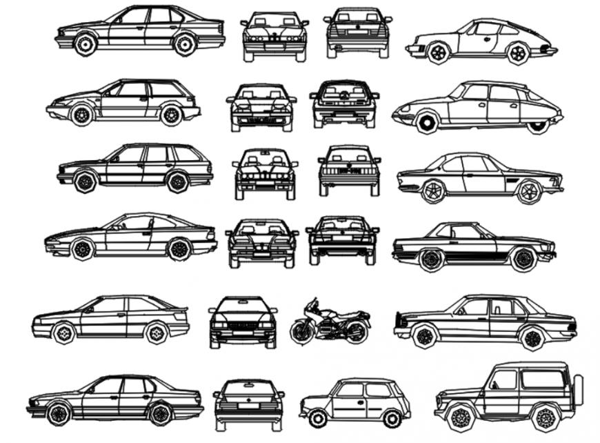 Drawing of car models unit AutoCAD file
