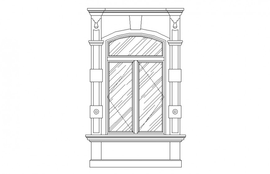 Drawing of decorative flat arch window AutoCAD file