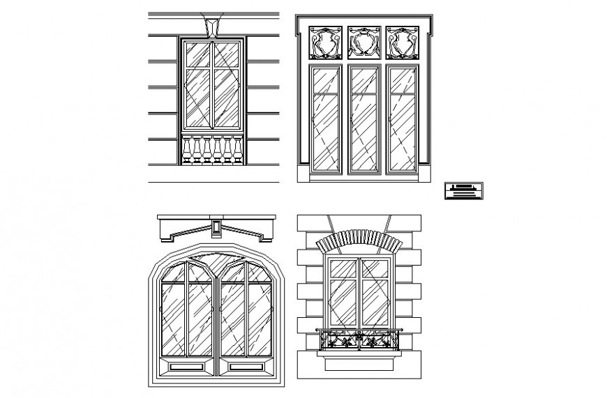Drawing of different types of window AutoCAD file
