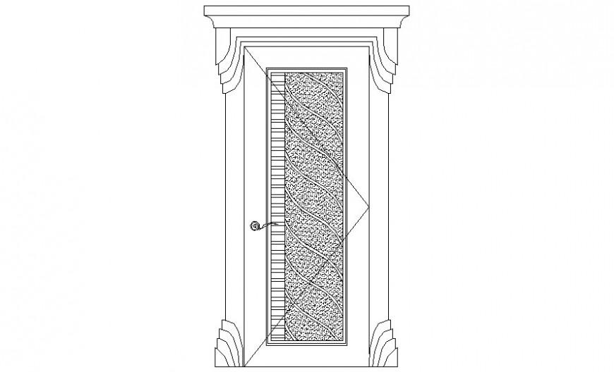Drawing of door 2d view in autocad software