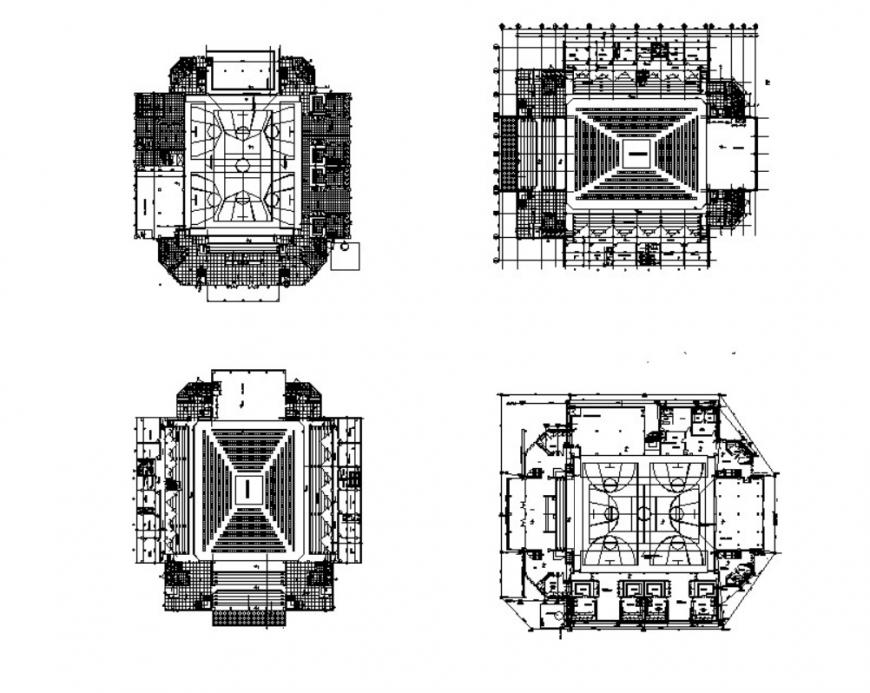 Drawing of double court coliseum details AutoCAD file