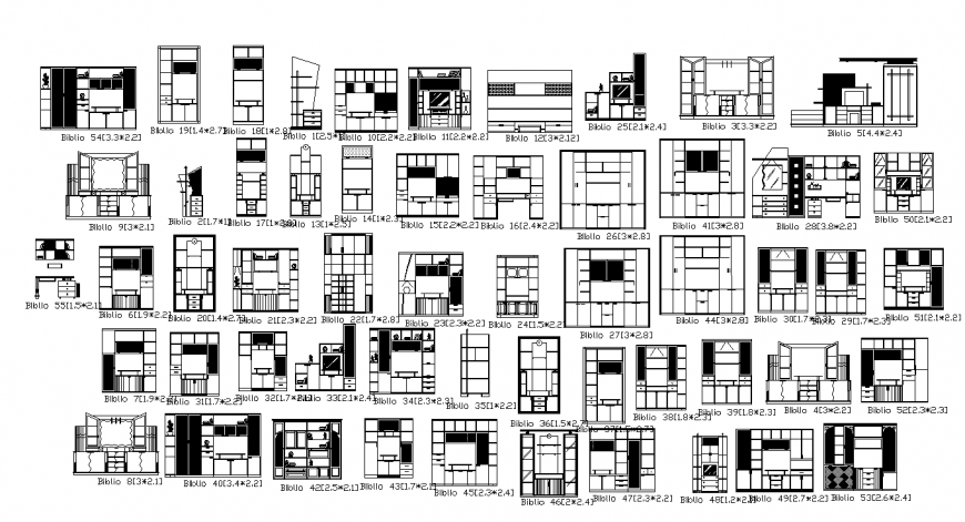 Drawing of elevation of cupboard drawing in dwg file.