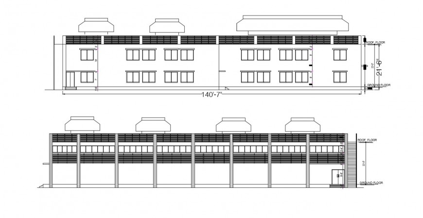Drawing of elevation of the factory building in dwg file