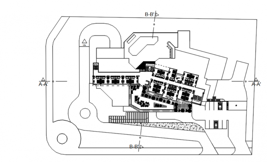 Drawing of executive hotel details autcad file