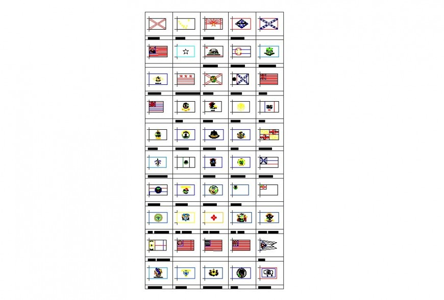 Drawing of flags blocks AutoCAD
