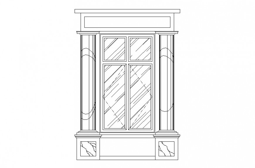 Drawing of flat arch window AutoCAD file