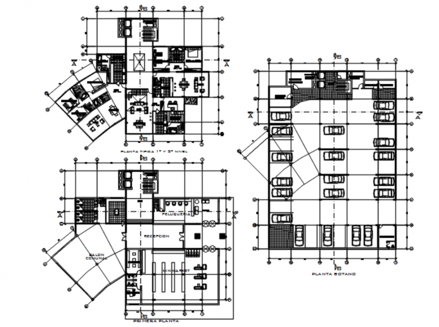 Drawing of high-density housing tower 2d details AutoCAD file