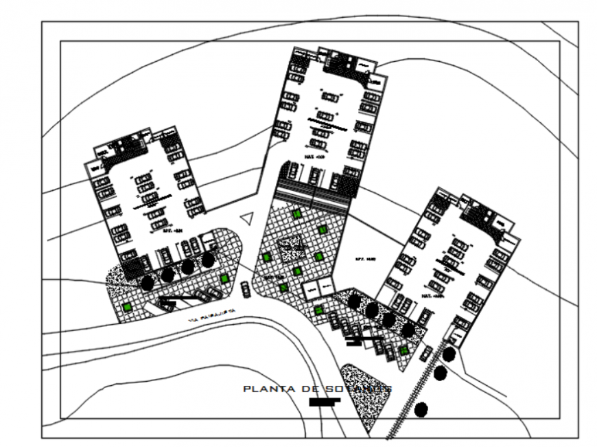 Drawing of high-density housing tower details AutoCAD file