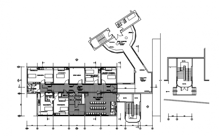 Drawing of hospital furnishing plan details AutoCAD file