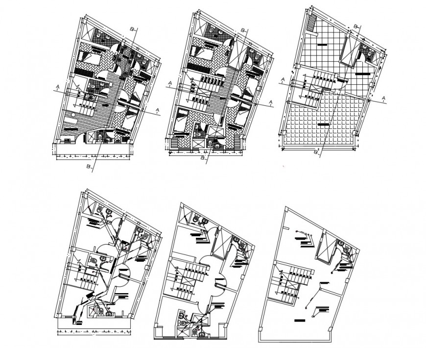 Drawing of hotel 2d model design detail AutoCAD file