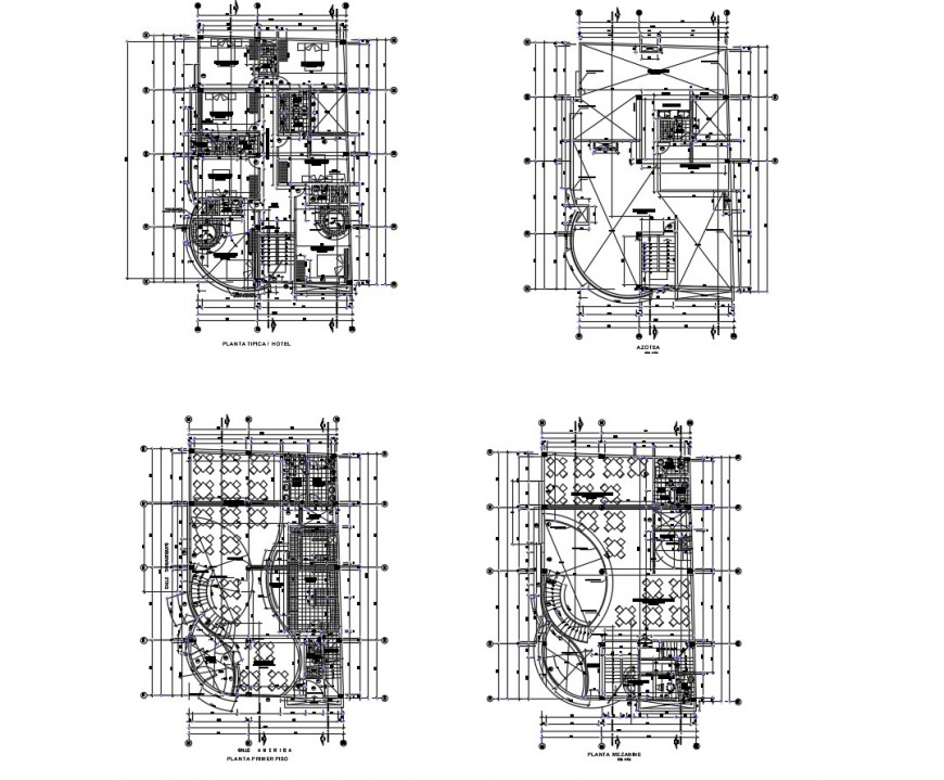Drawing of hotel architecture AutoCAD file