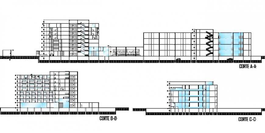 Drawing of hotel building 2d details.