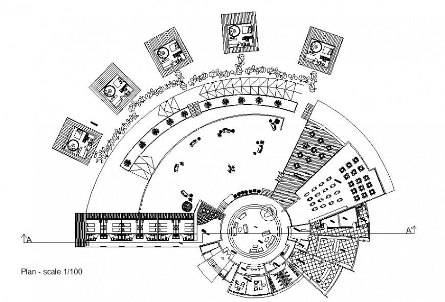 Drawing of hotel design plan 2d details AutoCAD file
