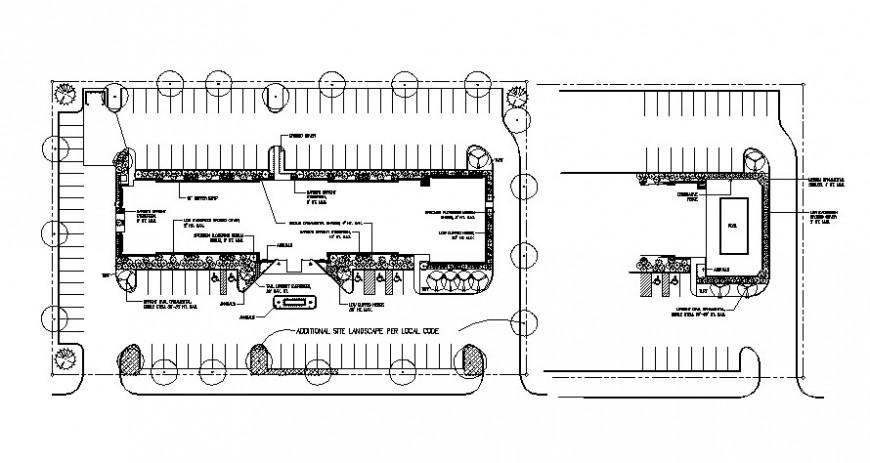 Drawing of hotel landscape model design AutoCAD file