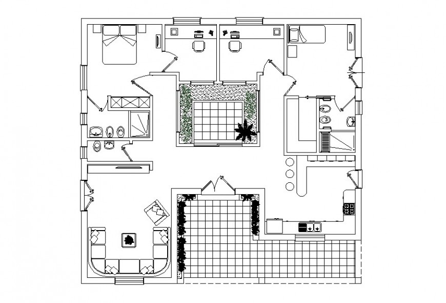 Drawing of house floor plan AutoCAD file