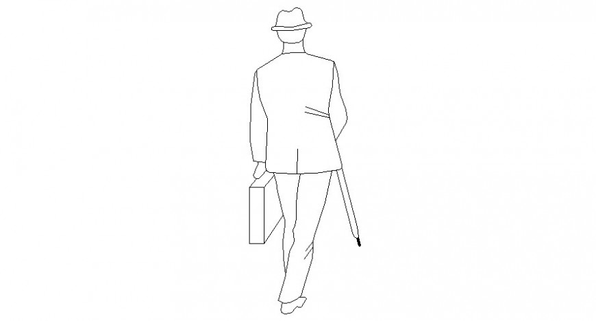 Drawing of human figure cad block autocad file